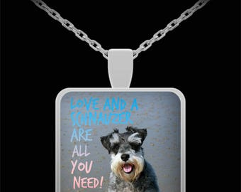 """Love and a Schnauzer Are All You Need Necklace with Pendant! Ideal gift for an animal lover! Wear it proudly on 22"""" silver plated necklace!"""