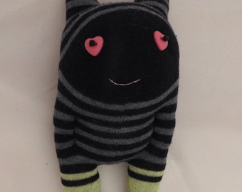 Party Favors, Socks monster creatures, sock fabric doll toy, primitive rustic plush, perfect gift presents with heart bottom and button eyes