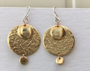 Hammered and Layered Brass Disc Earrings