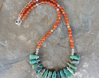 Turquoise Necklace, Statement Necklace, Chunky Bold Necklace, Boho Bold Necklace, Colorful Necklace, Best Unique Jewelry, Gemstone Necklace