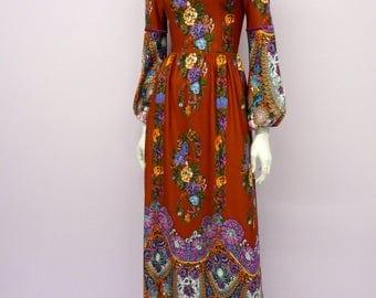 Eur 34 / US 4 / UK 6 // Vintage 70's full length dark orange floral bohemian dress // boho // maxi // seventies