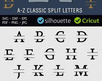 Thick Split Font Svg Split Monogram Svg Split Initial Letters Svg Cuttable Design Files for Cricut Vinyl Letters Dxf for Silhouette Iron on
