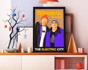 The Office TV Show Poster Scranton The Electric City Dwight Schrute Michael Scott Steve Carell NBC Dunder Mifflin Battlestar Galactica Art