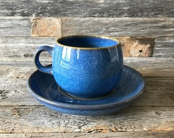 Set of 8 Vintage Denby English Blue Flat Cup and Saucer, Denby Stoneware, Denby Rams Head