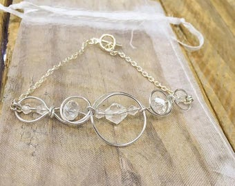Crystal Wirework Bracelet, Silver Plated, Beaded