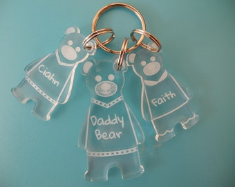 Daddy Bear and little bears keyring