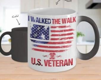 Veterans Mug, Veteran's Day, Gift for Veteran's Day, I Walked The Walk US Veteran, Color Changing, 11oz Mug, Gift, USA Vets, Veteran Gift