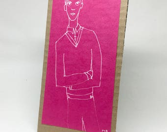 Simple design in white on pink paper and cardboard, decorative, gift, illustration - young man