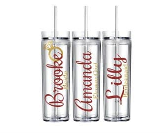 Personalized Name Tumbler/Clear/Pink/Gold/Glitter/Ring/Cute/Box/Summer/Spring/Winter/Wedding/Bride/Bridesmaid/Favor Gift custom/cup
