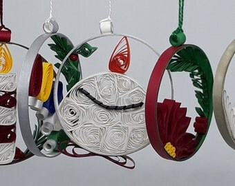 Quilled Christmas Globe Ornaments - Six Variations to Choose From  Includes Free Gift Package.