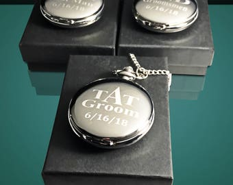 3 Personalized pocket watch - 3 Best Man & Groomsmen Gifts - Engraved pocket watch with gift box - Brother in law gift for men - Weddings