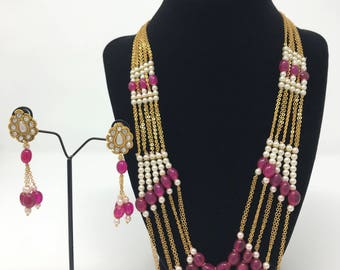 Indian Jewelry Set - Rani Haar Set - Indian Bridal Set - Indian Wedding Set - Bollywood Jewelry Set - Pakistani Jewelry Set - Moti Pearl Set