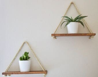 Hanging shelves, Hanging wall shelf, rope wall shelf, floating wall shelf, wooden wall shelf, wood shelf, bohemian shelf, wall planter,