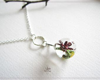 Necklace 925 Silver 14mm resin and dried flowers bubble