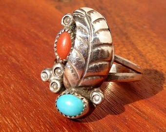 Turquoise and Coral Feather Ring in Sterling Silver, Size 7.5, Signed