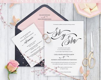 Spanish wedding Invitation, Invitaciones de boda, Printable, Invitation Set, Cheap Invitation, DIY, PDF Sr y Sra Moderna, print at home