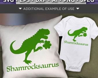 Dinosaur Svg File - Shamrockasaurus St. Patricks Day Dinosaur - Lucky Green Dinosaur Shirt SVG File - Shamrock Dinosaur - 1067