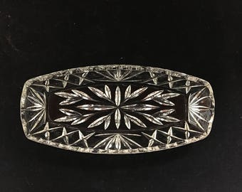 Vintage Glass Cut Diamond and Leaf Scalloped Glass Tray