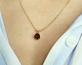 Garnet Necklace, Gold Necklace, Small Garnet Pendant, January Birthstone Necklace, Red Garnet Jewelry, Red Necklace, Red Gemstone Necklace