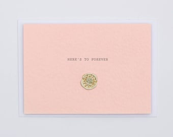 Here's To Forever Wax Seal Dried Flower Wedding Card