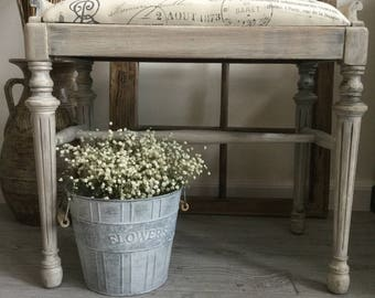 Antique Vanity Bench ~ Vanity Bench / Stool ~ Piano Bench / Stool ~ Footstool ~ Bench with French / Paris Upholstery Fabric ~ French Decor