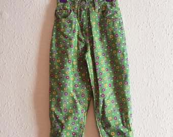 1990s Adams Apple Green Floral Cotton Trousers 3y