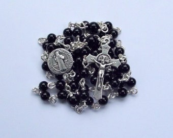 Onyx & Obsidian St Benedict Catholic Five Decade Rosary Beads. Christian, Prayer Beads, Our Father