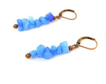 Blue Quartzite Earrings - Stone Chip Earrings - Gemstone Earrings - Blue Quartzite Chip Earrings - Blue Stone Earrings - Quartzite Earrings