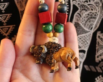 Buffalo necklace/ handmade necklace/ beaded necklace/ animal jewelry