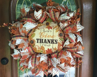 Thanksgiving Deco Mesh Wreath for Front Door Give Thanks Pumpkin