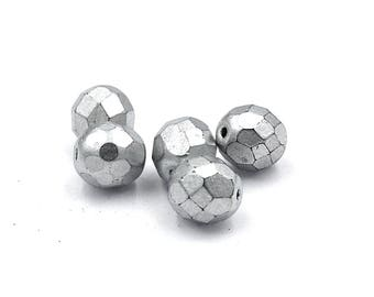 100/pc Matte Silver Czech 8mm Fire-polished Faceted Round Beads