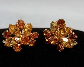 Vintage Sherman Gold Clip On Earrings, Marked Sherman