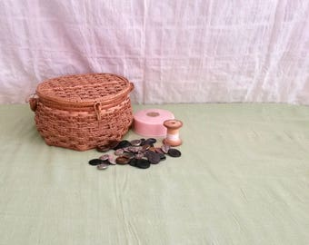 Sewing Basket with Contents, Grandma's Sewing Basket, Assorted Sewing Notions, Haberdashery, Craft Supplies Sewing