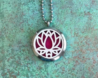 30mm Stainless Steel Essential Oil Diffuser Necklace, Lotus, Flower, Aromatherapy, Homeopathy, Natural Healing
