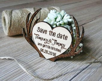 10 Wooden Save The Date Magnets Deers Wedding Favor Guest favor Wooden Magnets Heart Save The date Wedding Invitation Wooden Favor