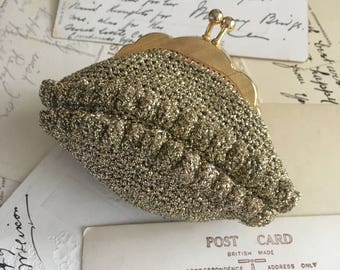 Vintage gold lamé crocheted coin purse