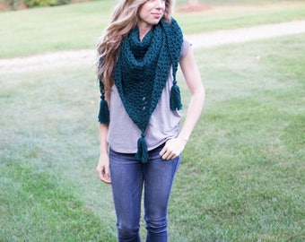 Everyday Triangle Scarf   Forest Green   Crochet Triangle Scarf with Tassels