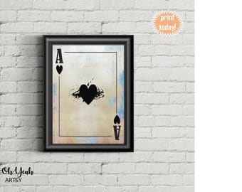 Ace of Hearts Game Room Art Print