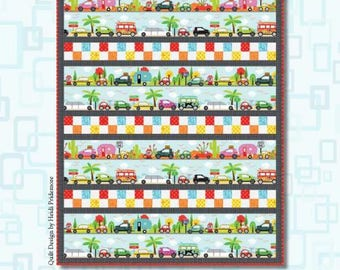 Are We There Yet? Quilt Kit - Henry Glass Co. Fabric - Car Roadtrip - Beginner Level Sewing