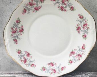 Pretty Vintage Royal Osborne Cake Plate - Pink Rosebuds