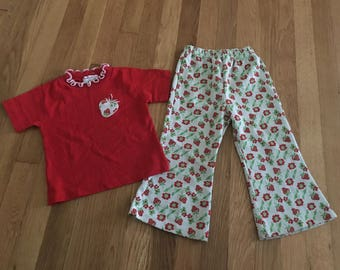 1960's health-tex strawberry 2 piece set shirt & pants - size 3t