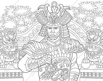 Adult Coloring Pages Japanese Samurai Zentangle Doodle Book For Adults Digital
