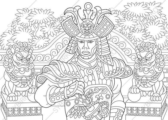 Japanese Samurai Warrior Coloring Pages Coloring Book Pages
