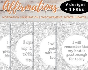 9 + 1 FREE Quotes for Coloring, Self care printables, Anti anxiety, Adult ADHD, Girls night ideas, Art activity kids, Positive affirmation