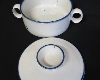 Vintage Dansk, Made in Denmark, Sugar Bowl, Stoneware, Serving, Sugar Bowl with Lid, white and blue