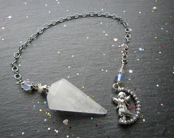 Premium Quartz Pendulum with Rotatable Angel, Clear quartz Pendulum, Angel Pendulum, Pendulum Dowsing, Pendulum, Rock Quartz Pendulum