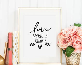 LOVE MAKES A FAMILY, Family Sign,Hand Lettering,Family Decor,Quote Poster,Wedding,Gift For Him,Boyfriend Gift,Love Art,Love Sigh,Typography
