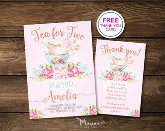 Tea For Two Birthday Invitation Girl Second Invitations 2nd Bday Invite