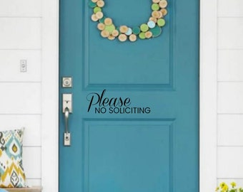 Please No Soliciting Door or Window sign  ||  House vinyl decal