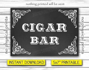 """Cigar Bar Sign, Wedding Sign, Chalkboard Poster, Burger Station, Wedding Sign Printable, Instant Download, Printable DIGITAL FILE, 5x7"""""""